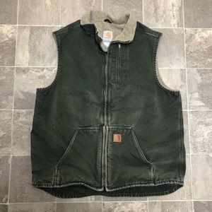 Men's carhartt fleece lined canvas work vest